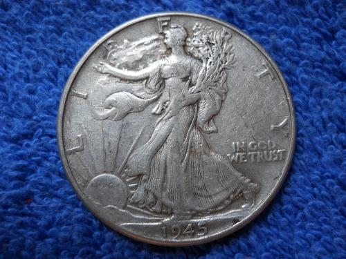 1945 (P) Walking Liberty Half Dollar. Very Fine Grade. Original Surfaces. WL#78