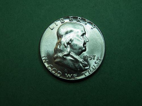 1957 P Franklin Half Dollar Gem Uncirculated Coin   w85