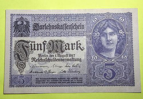 1917 GERMAN 5 MARK NOTE