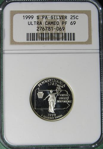 1999S Pensylvania 50 States and Territories Quarter: Silver Proof