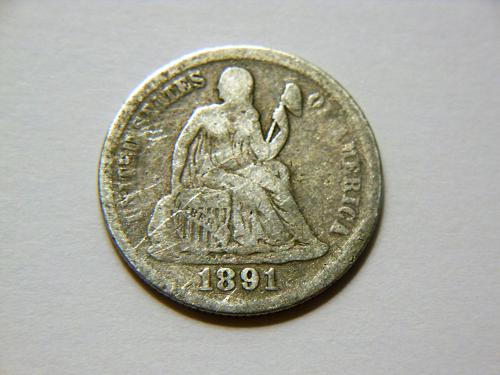 1891-P Silver Seated Liberty Dime