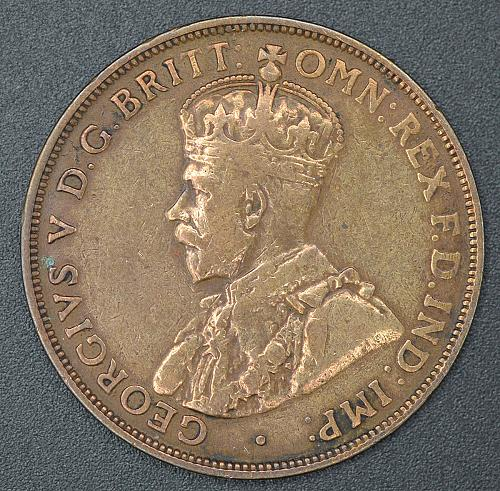 "RARE 1920 Australian penny ""2 dots"" on obverse, 4 photo's"