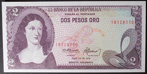 Colombia P413b 2 Pesos Oro UNC63