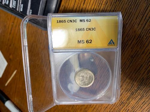1865      3 cent nickel  encapsulated