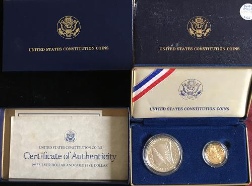 1987 US Constitution 2 coin set, SILVER dollar and $5.00 GOLD coin Proof set