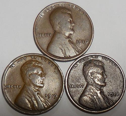 3 Lincoln Wheat Cents 1910 1919 1920