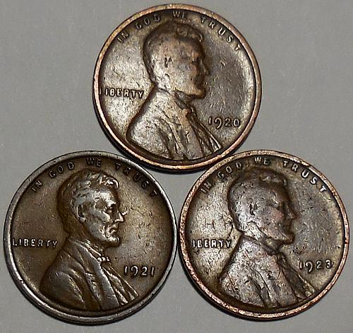 3 Lincoln Wheat Cents 1920 1921 1923