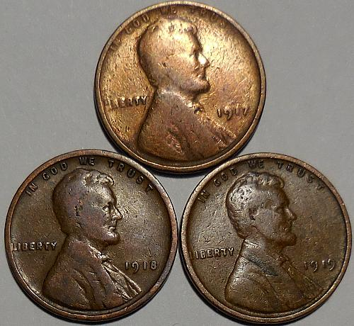 3 Lincoln Wheat Cents 1917 1918 1919