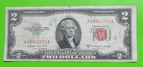 1953-B $2 US Banknote - Red Seal