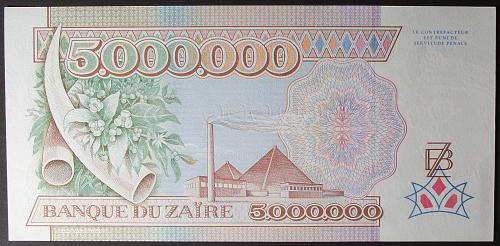 Zaire P46a 5000000 Zaires UNC62