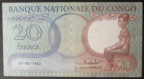Congo Democratic Republic P4a 20 Francs AU Details