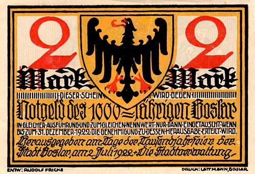 JULY 2, 1922 BOSLAR , GERMANY  TWO MARK  NOTGELD
