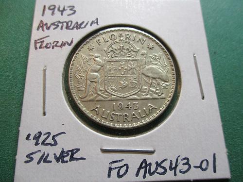 1943  XF45 Australia Florin.  .925 Silver.  Item: FO AUS43-01.