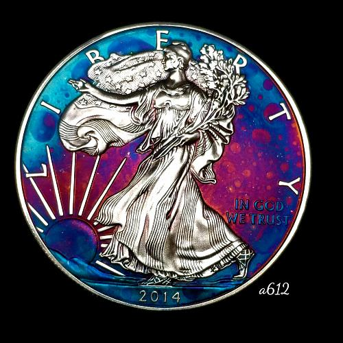 2014 Rainbow Toned Silver American Eagle 1 troy ounce silver Monster toned #a612