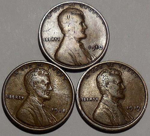 3 Lincoln Wheat Cents 1910 1918 1919
