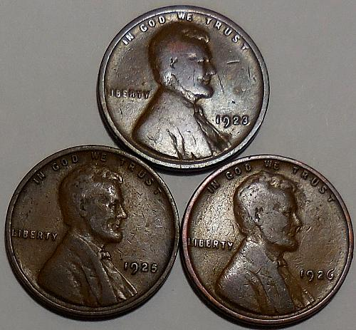 3 Lincoln Wheat Cents 1923 1925 1926