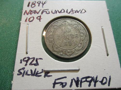 1894  G4 Newfoundland .925 Silver 10 Cents.  Item: FO NF94-01.