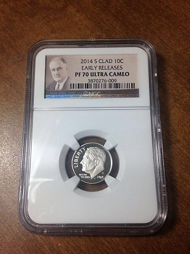 NGC ROOSEVELT DIME 2014 S CLAD PF 70 EARLY RELEASES ULTRA CAMEO