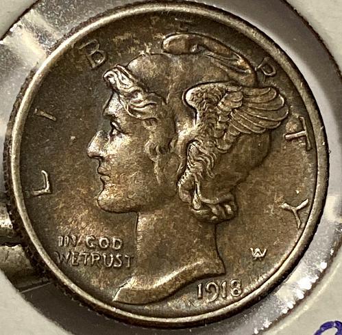 Beautifully toned 1918S Mercury Dime