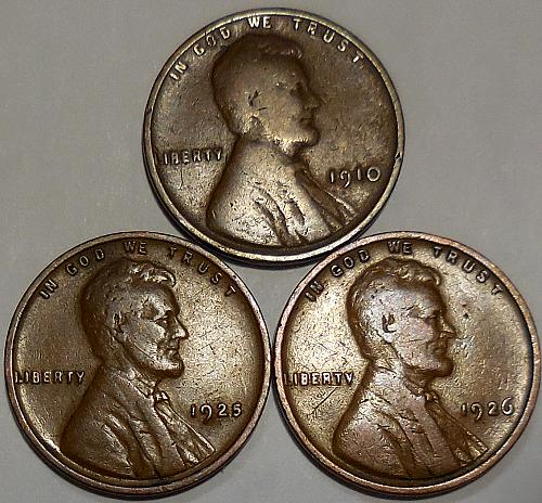 3 Lincoln Wheat Cents 1910 1925 1926