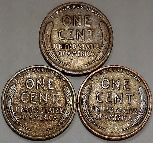 3 Lincoln Wheat Cents 1920 1925 1926