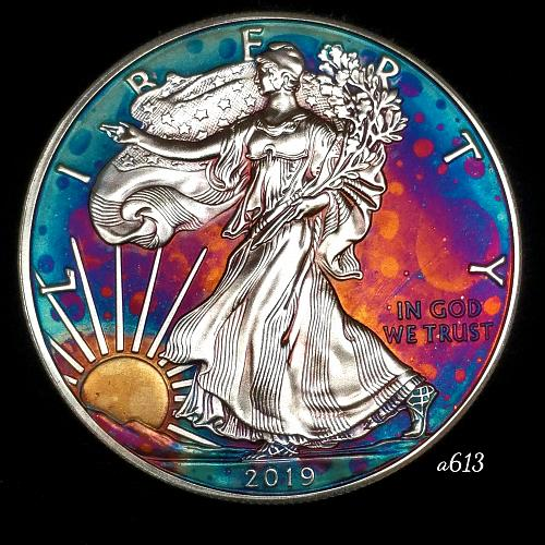 2019 Rainbow Toned Silver American Eagle 1 troy ounce silver Monster toned #a613