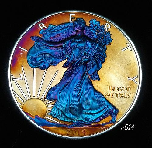 2014 Rainbow Toned Silver American Eagle 1 troy ounce silver Monster toned #a614