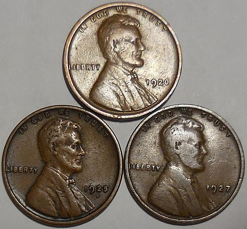 3 Lincoln Wheat Cents 1920-P 1925-S 1927-P