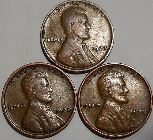 3 Lincoln Wheat Cents 1927 1928 1929