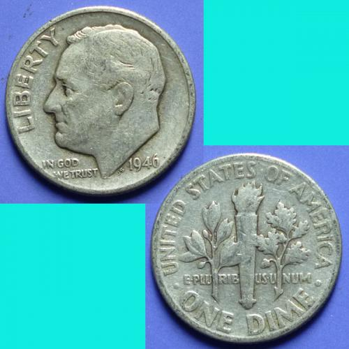 US United States 10 Cents Roosevelt Dime 1946 P km 195 Silver 0.0723 oz