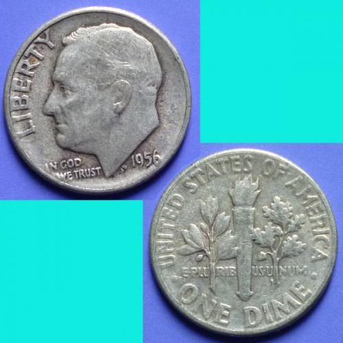 US United States 10 Cents Roosevelt Dime 1956 P km 195 Silver 0.0723 oz
