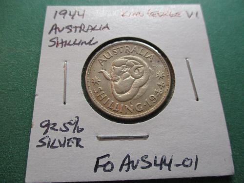 1944-S  AU50 Australia Shilling.  92.5% Silver.  Item: FO AUS44-01.