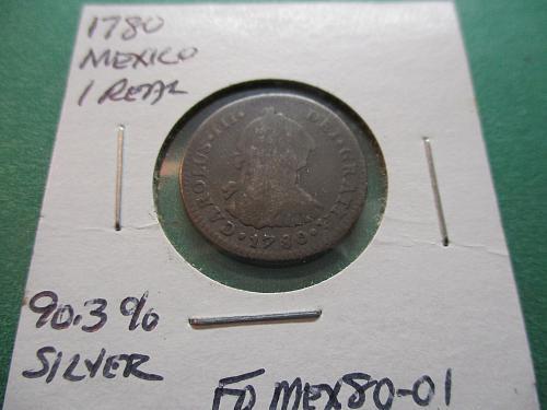 1780  G4 Mexico 1 Real.  Carolus III.  90.3% Silver.  Item: FO MEX80-01.