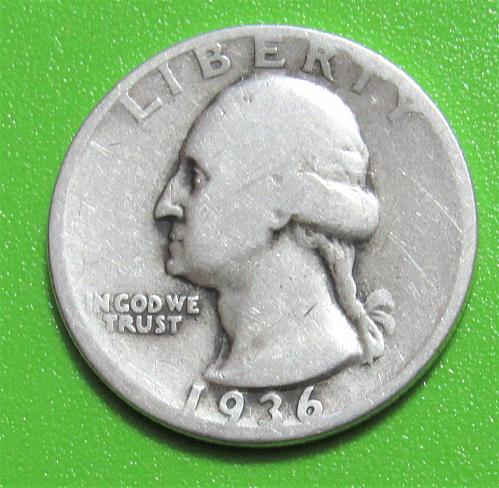1936 25 Cents - Washington Silver Quarter