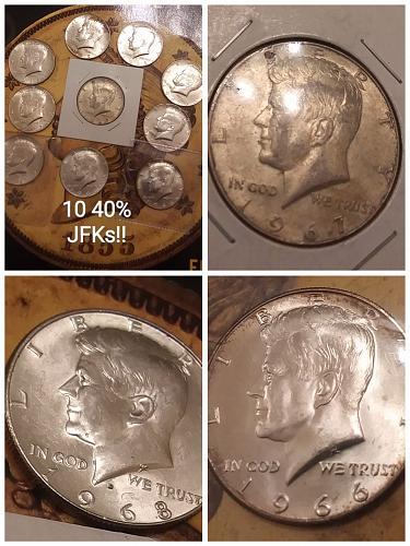 10 Pc. Lot 40% Silver JFK Half Dollars