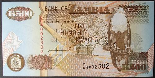 Zambia P39a 500 Kwacha UNC63