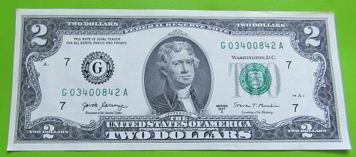 2017-A $2 US Banknote - G Seal Bank of Chicago - Crisp Uncirculated