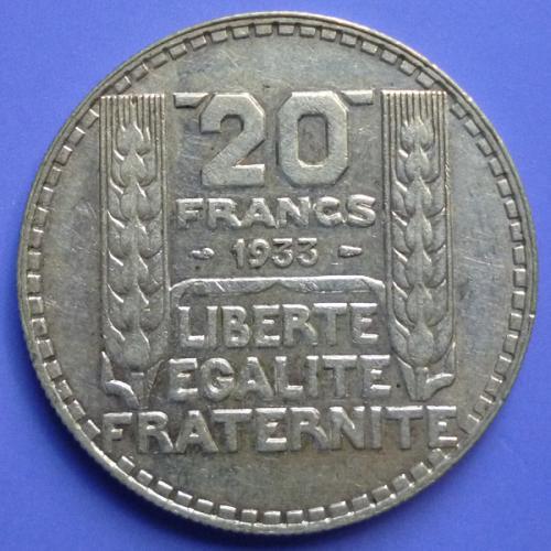 France French Francaise 20 Francs 1933 km 879 Silver 0.4372 oz