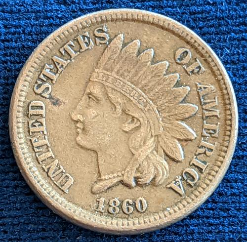 1860 ROUNDED BUST XF INDIAN CENT