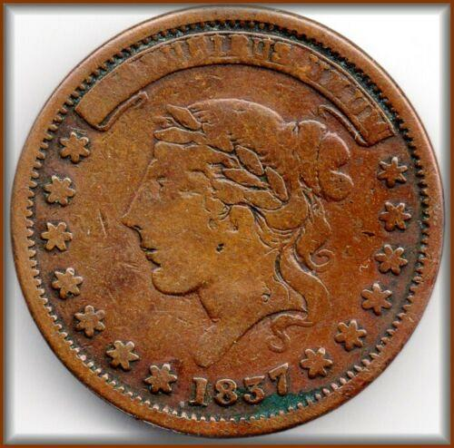 OLD US COIN 1837 RARE HARD TIMES TOKEN - FANTASTIC!