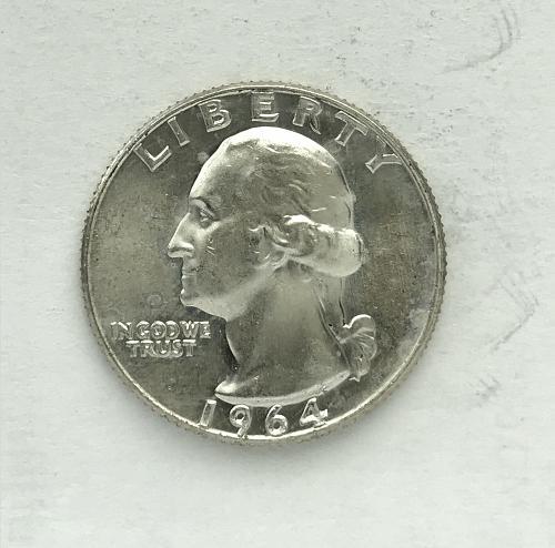 1964 D Uncirculated Washington Quarter --90% Silver (918-7)