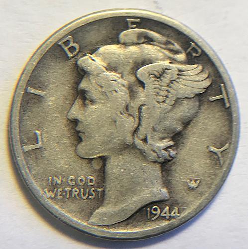 1944 Mercury Dimes Winged Liberty Silver Dime. V1P4R5