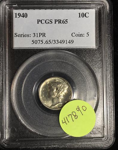 1940 Mercury Dime PCGS PR65
