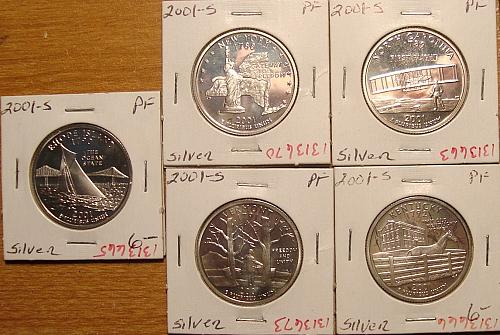 2001 S Washington State Quarters 5 piece Lot 90% Silver Proofs