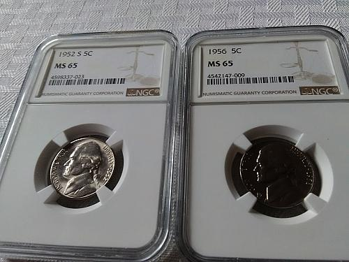 1952 S and 1956 Jefferson nickel NGC MS 65 $17.50 with free shipping