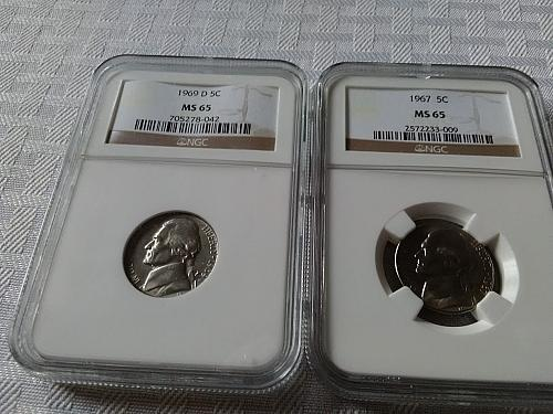 1967 and 1969 D Jefferson nickel NGC MS 65 $15.95 with free shipping