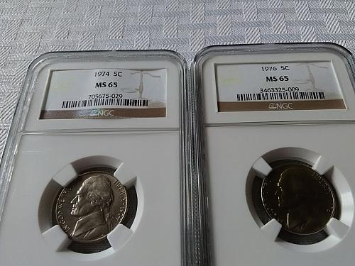 1974 and 1976 Jefferson nickels NGC MS 65 $13.75 w/ free shipping