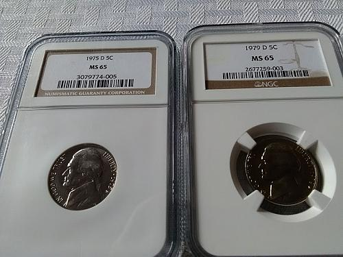 1975 D & 1979 D Jefferson nickels NGC MS 65 NOW $11.95 w/ free shipping