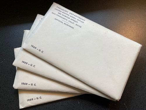 1969 Uncirculated US Mint Sets. (4) Unopened sets