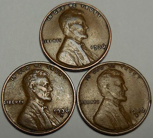 3 Lincoln Wheat Cents 1936-P 1936-D 1936-S
